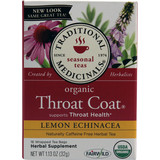 Traditional Medicinals Organic Throat Coat Lemon Echinacea Herbal Tea 16 Tea Bags