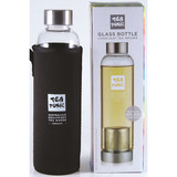 Tea Tonic Glass Tea Bottle 550ml with Tea Infuser and Black Thermal Sleeve