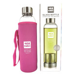 Tea Tonic Glass Tea Bottle 550ml with Tea Infuser and Pink Thermal Sleeve