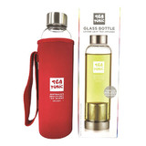 Tea Tonic Glass Tea Bottle 550ml with Tea Infuser and Thermal Red Sleeve