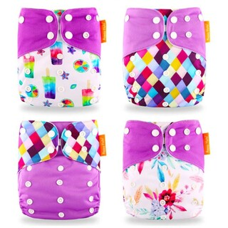 Pack of 4 Reusable Nappies With Adjustable Buttons